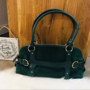 Salvatore Ferragamo Green Suede Handbag